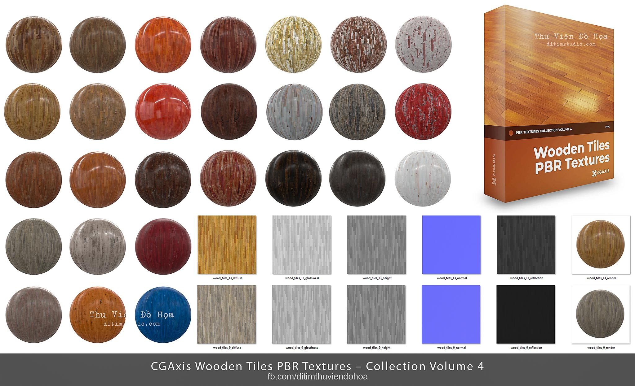 [ Textures ] CGAxis Wooden Tiles PBR Textures – Collection Volume 4
