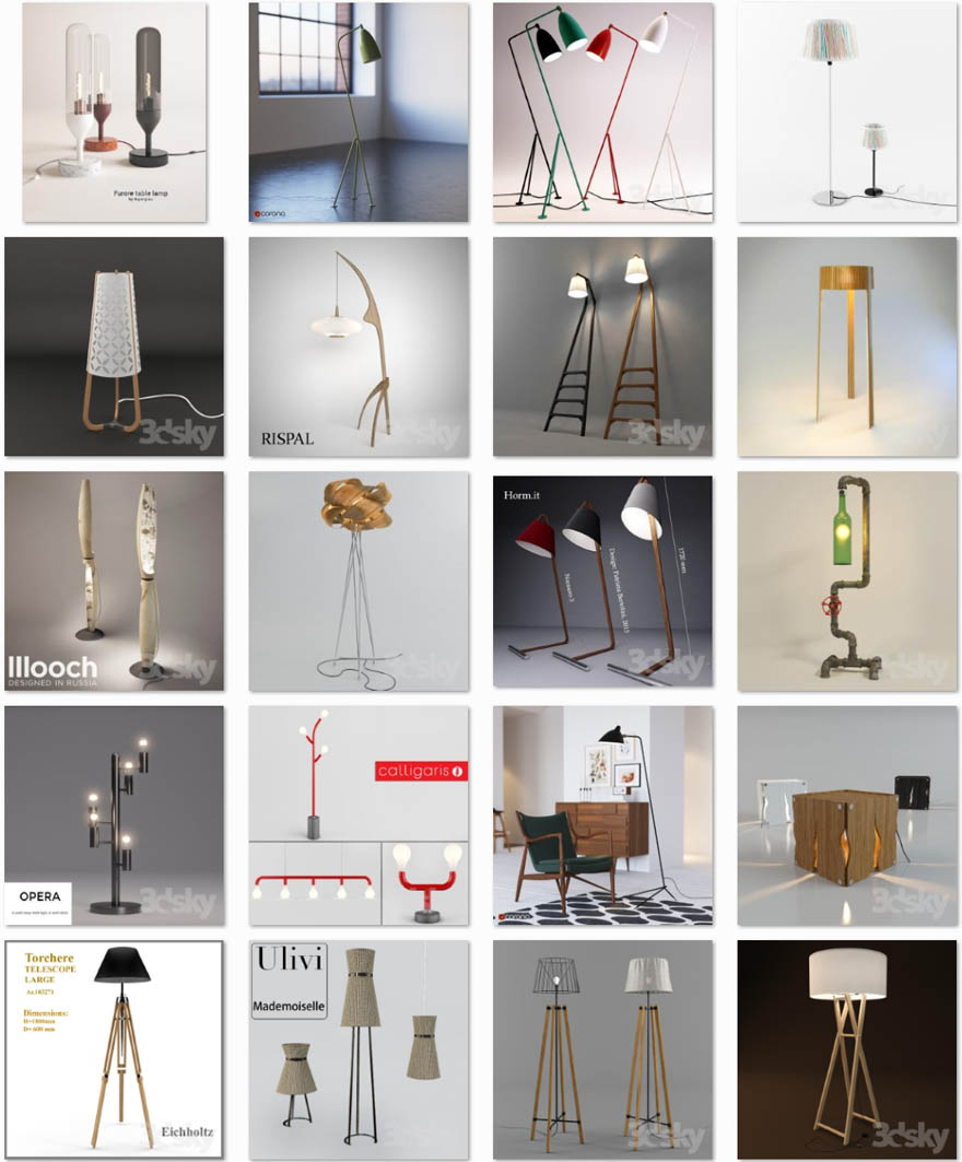 Den_Wooden floor lamp